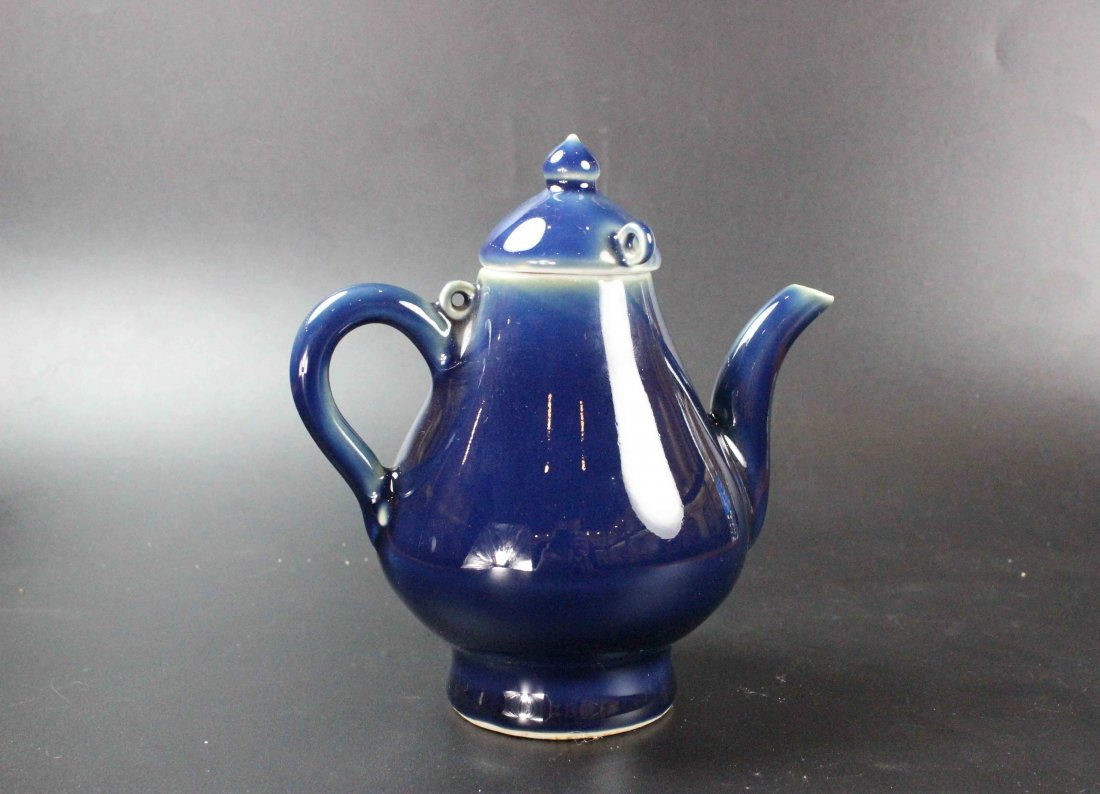 Chinese Altar Blue Pear Shaped Pot