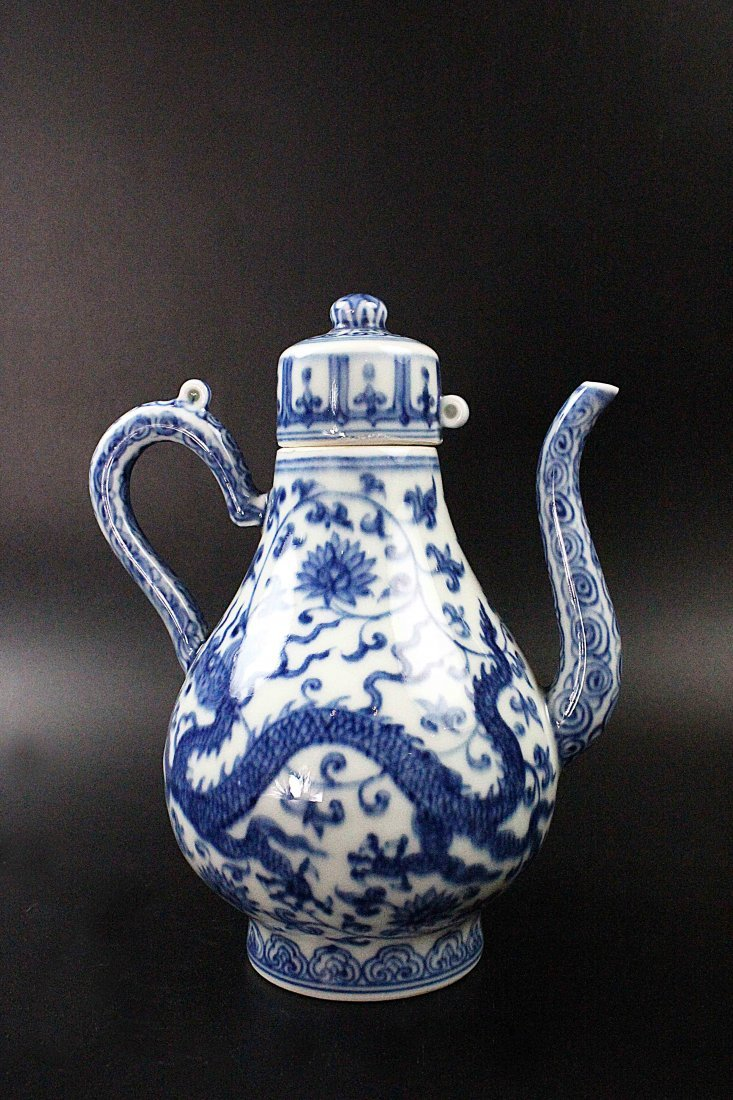 Chinese Blue And White Pear Shaped Pot