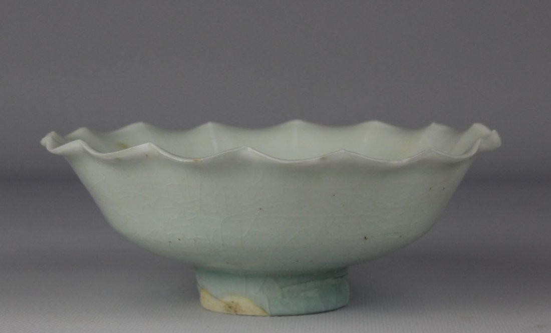 Chinese Shadowy Blue Glazed Petals Shaped Bowl