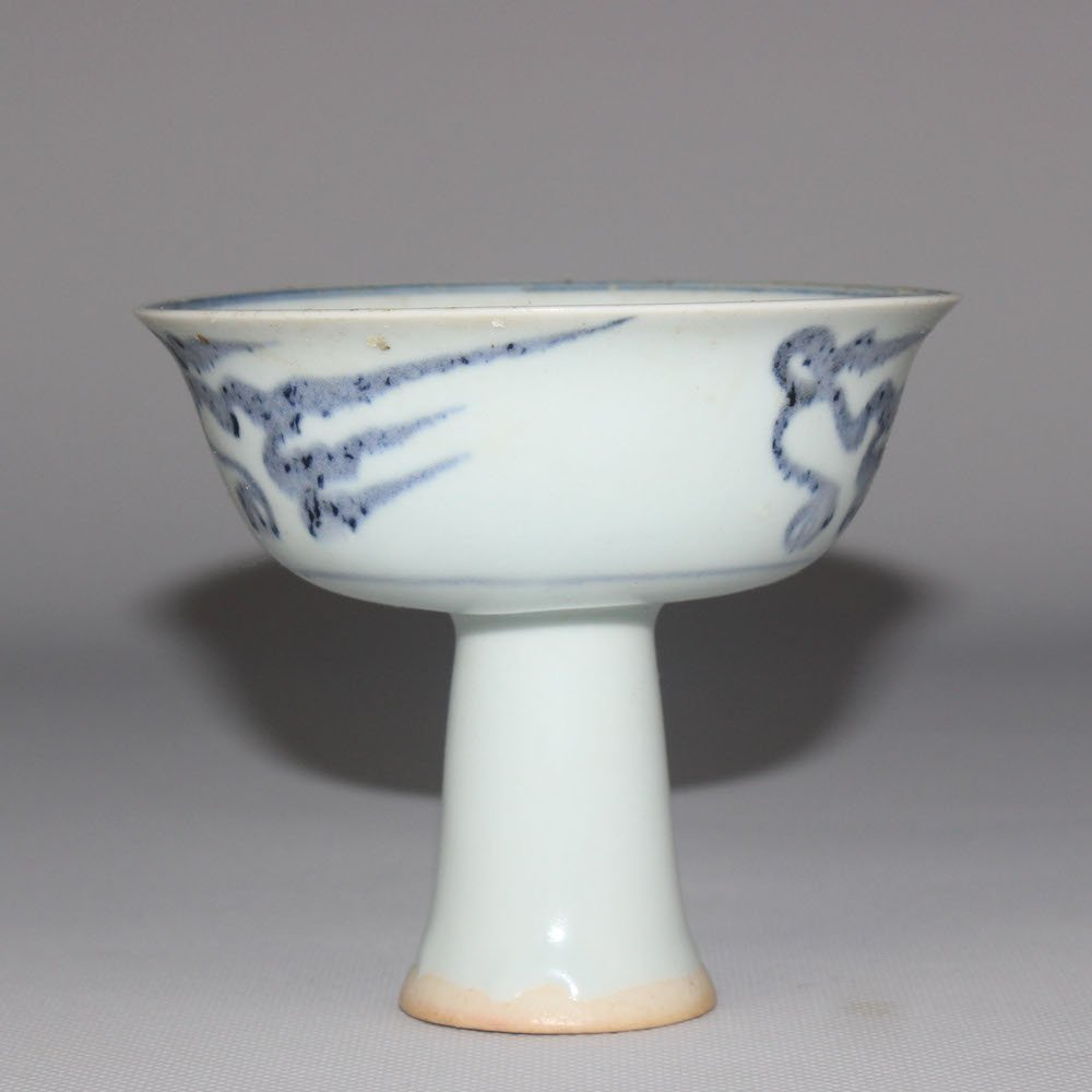 Chinese Blue And White Stem Cup