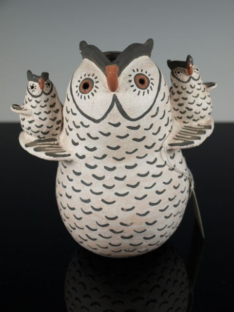 Acoma Pottery Owl with Two Owlets by V. Garcia