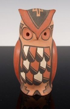 Jemez Four-Color Pottery Owl by Persingula M. Gachupin