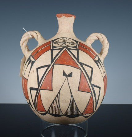 Acoma Polychrome Pottery Canteen with Braided Lugs