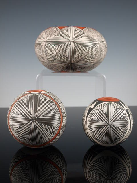 Group Of Three Acoma Fine-Line Pots