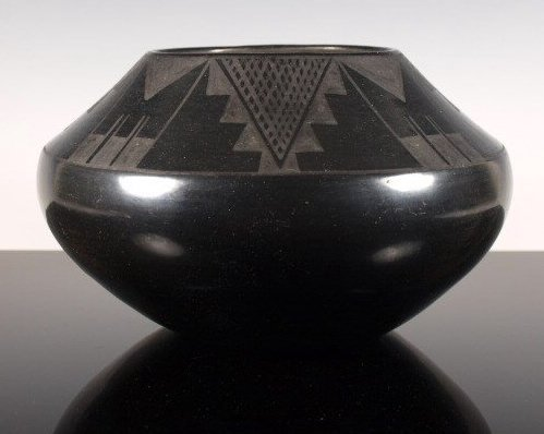 Exceptional Black-On-Black Pottery Jar by Maria