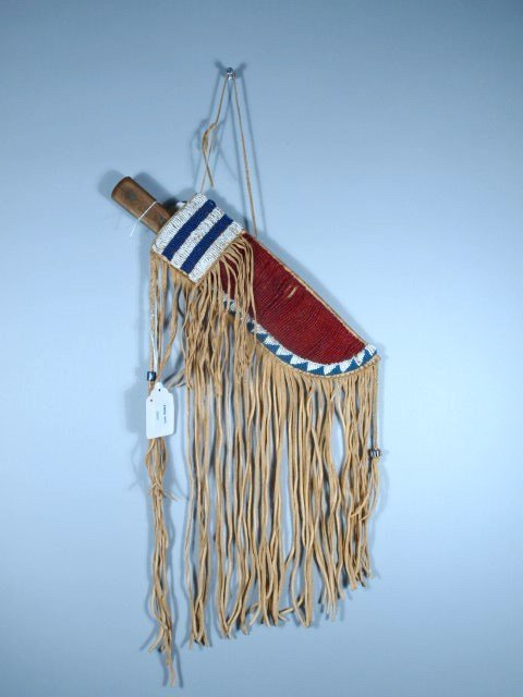 Blackfoot Indian Beaded & Fringed Knife Sheath w/ Early