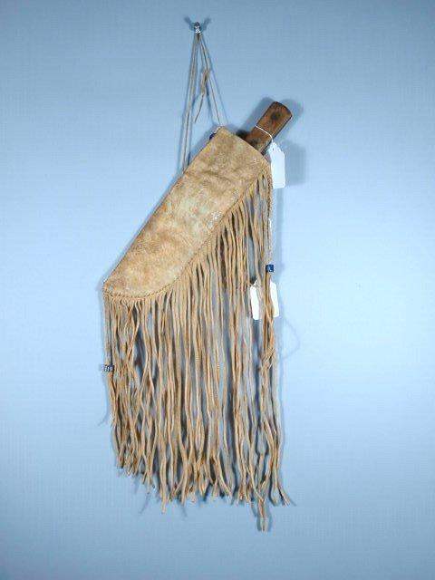 Blackfoot Indian Beaded & Fringed Knife Sheath w/ Early - 2