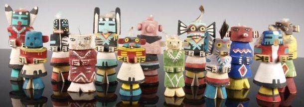 Collection of 13 Hopi Kachina (Katsina) dolls