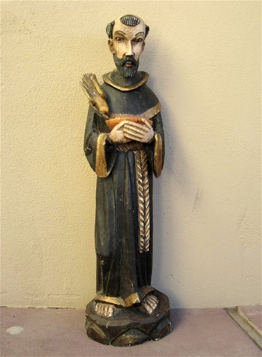 Mexican Wood Sculpture Of St Francis Of Assisi