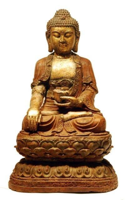 Important 17th Century Large Chinese Gilt Buddha