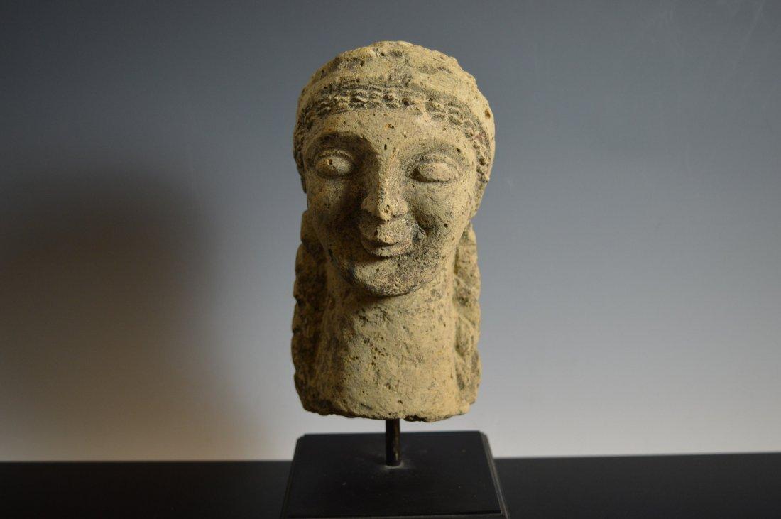 Cypriot Limestone Female Head 600 BC