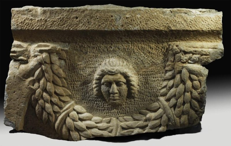 Huge Ancient Roman Marble Sarcophagus Section