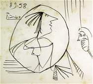 Original Hand Draw Ink Drawing   Signed Picasso