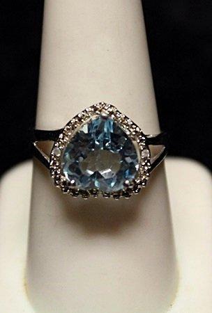 Fancy Heart Shape London Blue Topaz with Diamonds SS