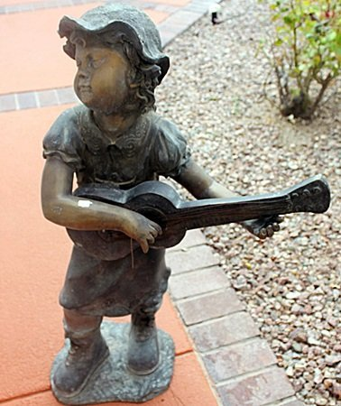 """""""Girl with Guitar"""" Bronze Recast Sculpture After Barye"""