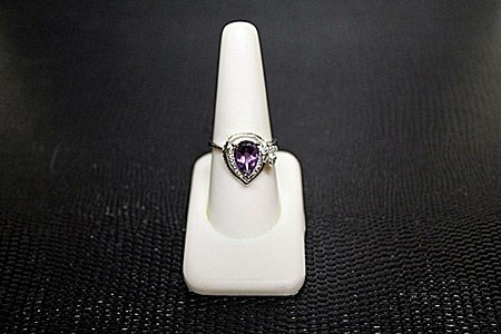 """Very Fancy  White Gold over Silver """"Pear"""" Shape"""