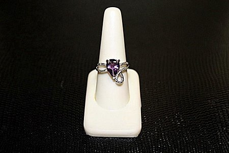 """Lady's Beautiful  White Gold over Silver """"Pear"""" Shape"""
