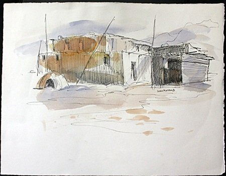 Original Ink and Watercolor on Paper By Horst. (2I)