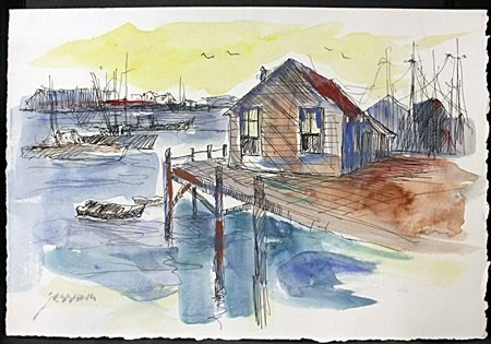 """Original Ink and Watercolor on Paper """"Harbour Morning"""""""