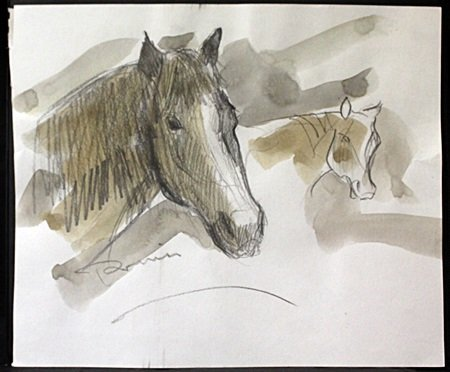 """Original Pencil and Watercolor Drawing on Paper """"Study"""""""
