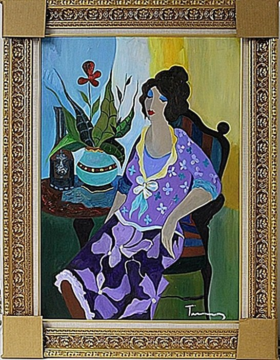"""Acrylic on Canvas """"Violet with Flowers"""" by Tarkay"""