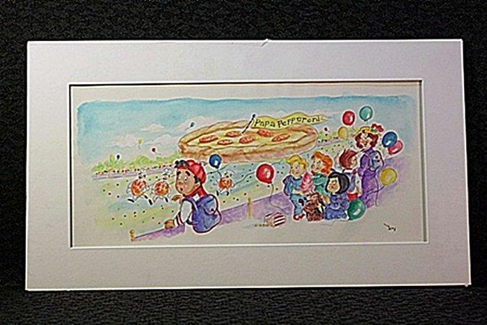 Original Watercolor by Victoria Ponikvar - Flying Pizza