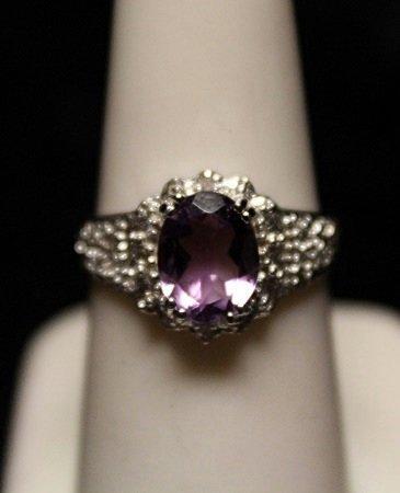 Beautiful Amethyst with Diamonds SS Ring (8ZR)
