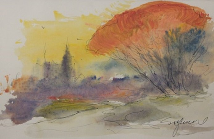"""Original Watercolor on Paper """"Sunset in Fall"""" by"""