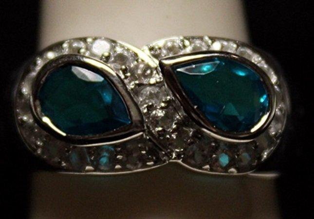Fancy London Blue Topaz Sterling Silver Ring.
