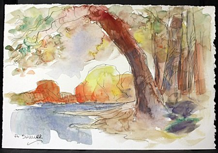 "original Ink and Watercolor on Paper ""Fall Comes Fast"""