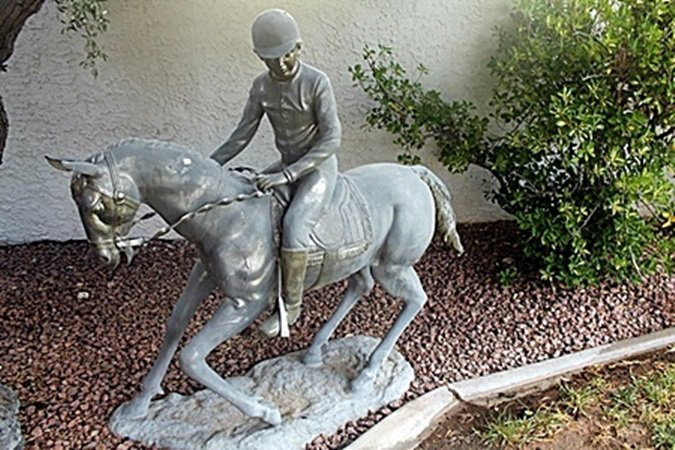 """Jocky on Horse"" Bronze Recast Sculpture After Henry"