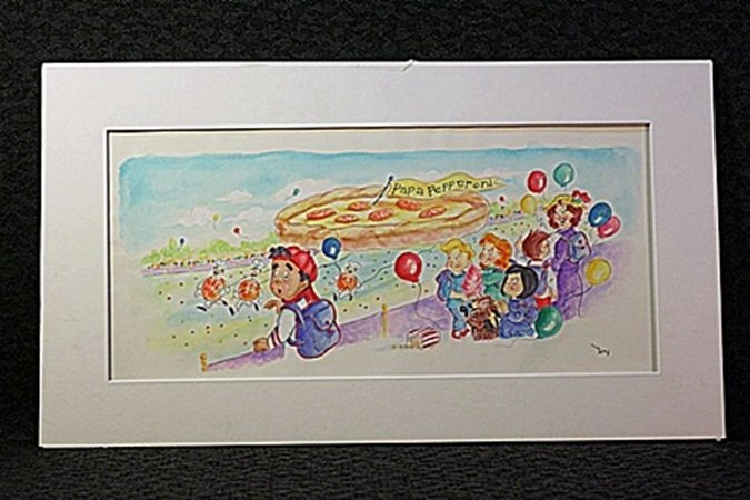 Original Watercolor by Victoria Ponikvar - Flying Pizza
