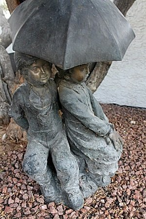 """Umbrella Girl and Boy"" Bronze Recast Sculpture After"
