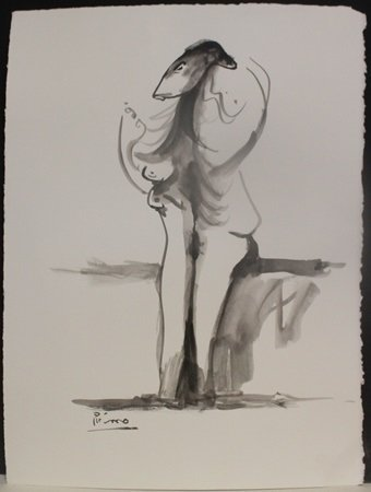 Original Watercolor Painting; Signed Picasso (364)