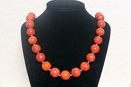 Beautiful Red Coral with SS Balls Necklace (1ZF)