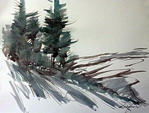 "Original Watercolor on Paper ""Winters Toll"" by Michael"