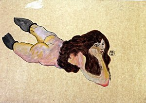 Nude Girl - Watercolor Gouache on Paper - Egon Schiele