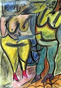 Two Woman I - Pastel Drawing on Paper - Willem De