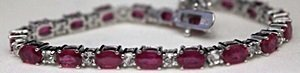 Beautiful Silver Bracelet with Rubies & White Garnets