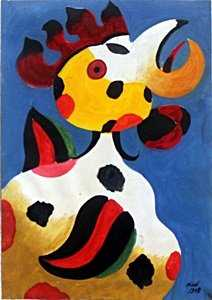 El Gallo Oil Painting On Paper Joan Miro