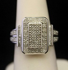 Very Fancy Silver Ring with Diamonds