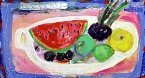 Watermelon on a White Dish - Original on Canvas by