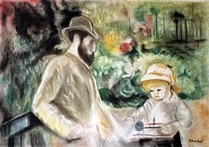 Pastel Drawing on Paper - Edouard Monet
