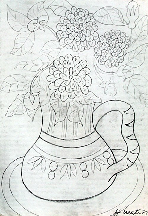 Wase With Flowers - Drawing on Paper - Henri Matisse