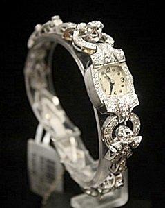 Very Fancy Antique Hamilton Diamonds Platinum Watch