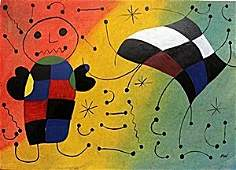 """""""Boy with Kite"""" Oil on Paper - Joan Miro"""