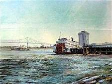 """Lithograph """"Miss River Ferry"""" after Robert M. Rucker"""