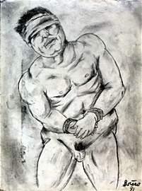 El Prisonero - Graphite Drawing - Fernnado Botero