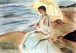 Woman with Umbrella - Pastel Drawing - J. Sorolla