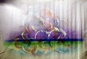 "Original Mixed Media on Canvas ""Grapes on Water"""